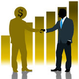 Businessman Deal with Dollarman Royalty Free Stock Images
