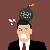 Businessman with debt bomb on his head. Business risk concept Stock Image