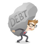 Businessman debt burden rock. Vector illustration of a cartoon character: Businessman carrying huge rock labeled debt Stock Photos