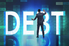 The businessman in debt business concept. Businessman in debt business concept Stock Image