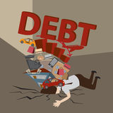 Businessman with Debt. Debt concept. Cartoon vector Royalty Free Stock Photography