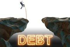 The businessman in debt and loan concept. Businessman in debt and loan concept royalty free stock photos