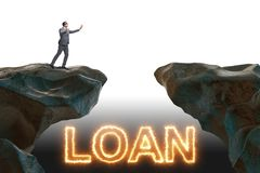 The businessman in debt and loan concept. Businessman in debt and loan concept stock photos