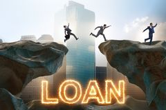 The businessman in debt and loan concept. Businessman in debt and loan concept stock photo
