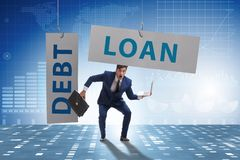 The businessman in debt and loan concept. Businessman in debt and loan concept stock image