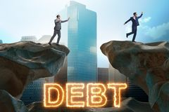 The businessman in debt and loan concept. Businessman in debt and loan concept stock photography