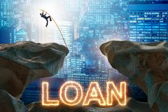 The businessman in debt and loan concept. Businessman in debt and loan concept stock images