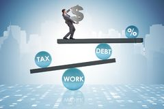 The businessman in debt and tax business concept. Businessman in debt and tax business concept Royalty Free Stock Photos