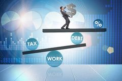 The businessman in debt and tax business concept Royalty Free Stock Photos