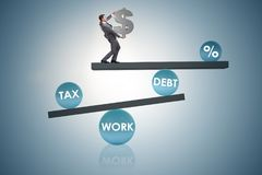 The businessman in debt and tax business concept. Businessman in debt and tax business concept Royalty Free Stock Photography