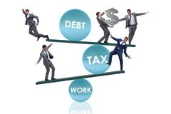 The businessman in debt and tax business concept. Businessman in debt and tax business concept Stock Photography