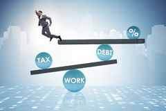 The businessman in debt and tax business concept. Businessman in debt and tax business concept Royalty Free Stock Photo