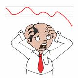 Businessman and declining share. Illustration of Businessman and declining share on white Stock Photo