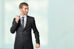 Businessman in a defensive position. Young Businessman in a defensive position Stock Image