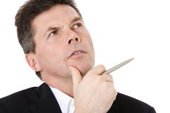 Businessman deliberates a decision Royalty Free Stock Photo