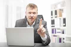 Businessman delivering a lecture to a client Stock Image
