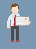 Businessman delivering mail. Vector Royalty Free Stock Image