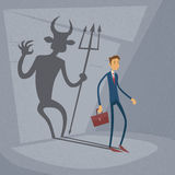 Businessman With Demon Shadow Wall Behind Business Royalty Free Stock Photo