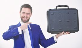 Businessman demonstrate briefcase. Business conference. Business attributes. Justification for proposed project or. Expected commercial benefit. Man hold royalty free stock photos