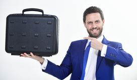 Businessman demonstrate briefcase. Business conference. Business attributes. Justification for proposed project or. Expected commercial benefit. Man hold stock images