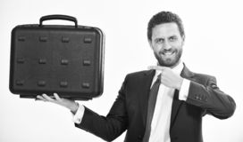 Businessman demonstrate briefcase. Business conference. Business attributes. Justification for proposed project or. Expected commercial benefit. Man hold stock photo