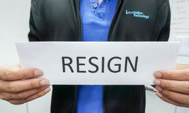 Businessman in IT department resign Royalty Free Stock Images