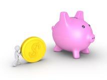 Businessman deposits coin Stock Photos