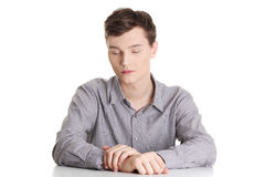 Businessman in depression Royalty Free Stock Image