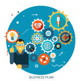 Businessman Describes Successful Strategy Plan. Infographic Symbol Gears icons Background Modern Flat Design Vector Illustration Royalty Free Stock Image