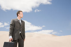 Businessman in the desert Stock Photography