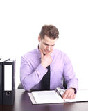 Businessman at desk Royalty Free Stock Photos