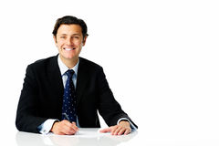 Businessman at desk Royalty Free Stock Image