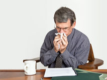 Businessman at Desk Blowing Nose. Businessman at his desk reading reports and blowing nose...obviously suffering from cold, allergies, or influenza Stock Photos