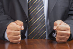 Businessman Desk Fist Fists Angry Closeup Stock Photo