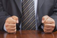 Businessman Desk Fist Fists Angry Closeup Stock Photo