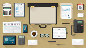 Businessman desktop with briefcase Stock Images