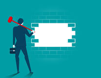 Businessman destroying barriers. Concept business illustration. Vector flat Royalty Free Stock Photo