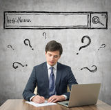 Businessman is developing a new IT start up project. Royalty Free Stock Images