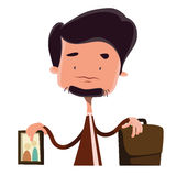 Businessman devided between family and job  illustration cartoon character Royalty Free Stock Photos