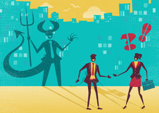 Businessman is really a Devil in disguise. Great illustration of a businessman who is exposed as a Devil in real life by a clever businesswoman who sees right Royalty Free Stock Image