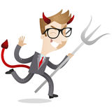 Businessman with devils horns, tail, trident. Royalty Free Stock Photography