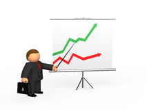 Businessman and diagram. With red and green arrow on white background Stock Image