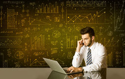 Businessman with diagram background Stock Images