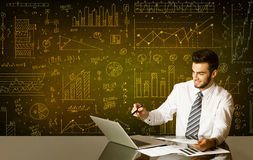 Businessman with diagram background Royalty Free Stock Photography