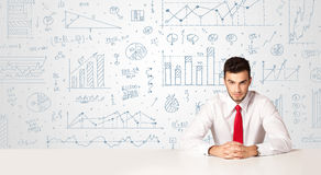 Businessman with diagram background Stock Image
