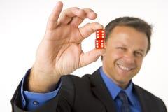 businessman dice holding red two στοκ φωτογραφία με δικαίωμα ελεύθερης χρήσης