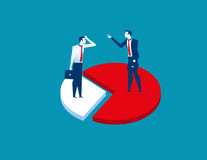 Businessman on difference pieces of chart. Concept business. Success illustratio. Vector cartoon character and abstract flat Stock Photos