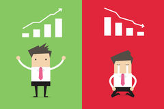 Businessman with different achievement. Vector illustration Stock Photo