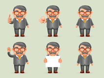 Businessman Different Actions Man Mustache Geek Hipster 3d Realistic Cartoon Character Design  Vector Royalty Free Stock Photography