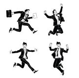 Businessman in different emotions and expressions black silhouette. Businessperson in casual office look.various poses jumping peo Stock Image